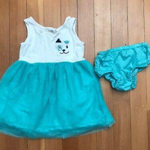 Tank Tulle Dress 2T Turquoise EUC